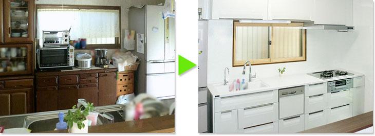 キッチンのリフォーム ビフォーアフター